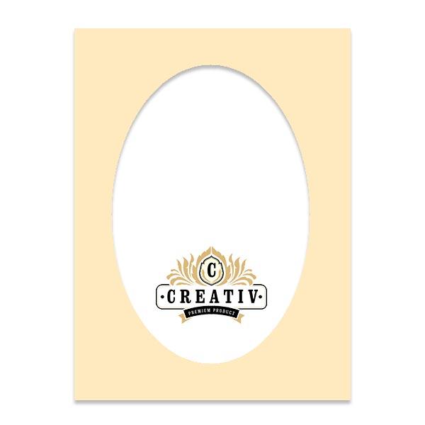 Passepartout mit individuellem ovalem Ausschnitt 24x30 cm | bisquit