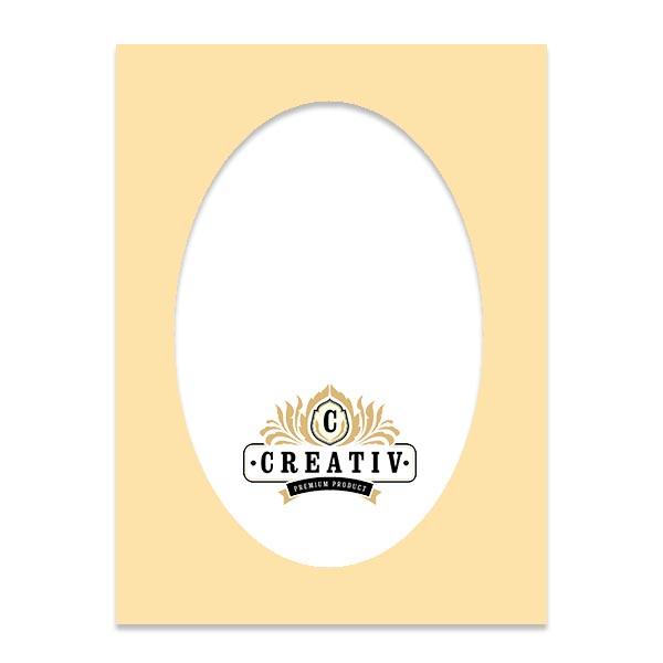 Passepartout mit individuellem ovalem Ausschnitt 10x15 cm | elfenbein
