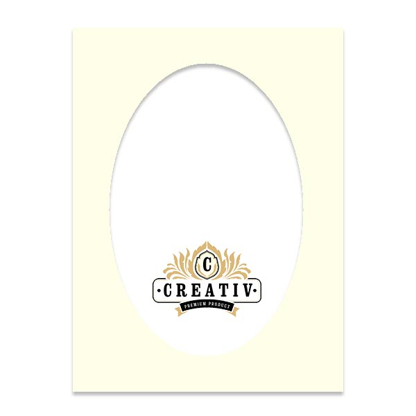 Passepartout mit individuellem ovalem Ausschnitt 24x30 cm | porzellan