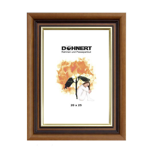 Barockrahmen Queensbury 7x10 cm | Braun-Goldkante | Normalglas