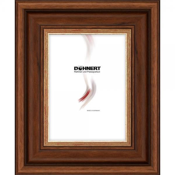 Barockrahmen Southgate 13x13 cm | Nussbaum-Gold | Normalglas