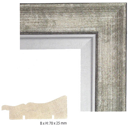Antik-Bilderrahmen Markey 20x30 cm | Grau/Silber | Normalglas