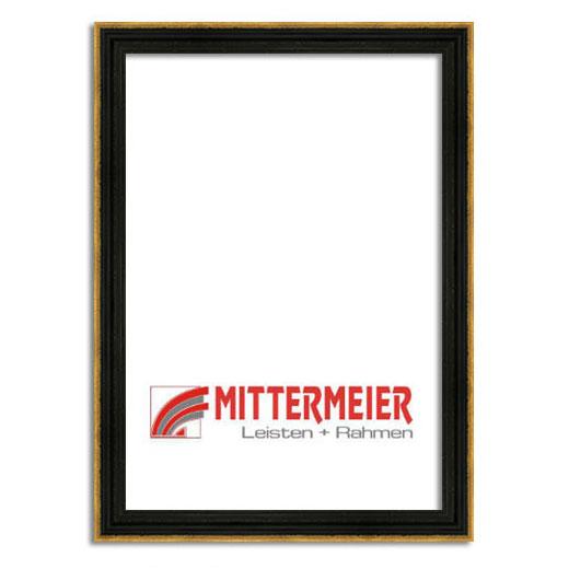 Barock-Bilderrahmen Littau 20x30 cm | antikgold quer geritzt | Normalglas
