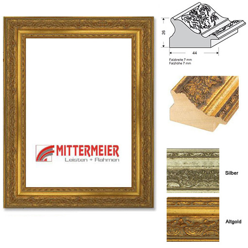Barock-Bilderrahmen Pratteln 30x40 cm | altgold verziert, flaemischer Barock | Normalglas