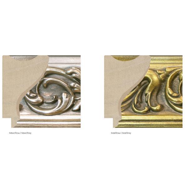 Barock-Bilderrahmen Cornucopia 74 21x29,7 cm (A4) | Silber-Grau | Normalglas