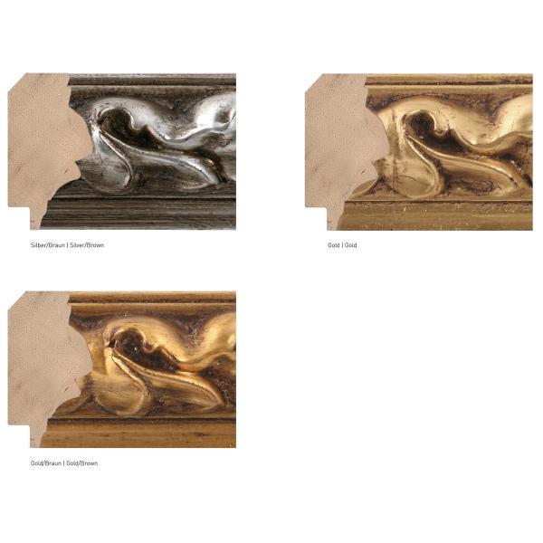 Barock-Bilderrahmen Medusa 55 21x29,7 cm (A4)   Silber-Braun   Normalglas