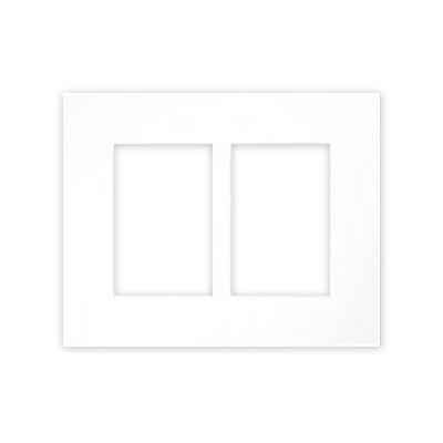 Galerie-Passepartouts 2,5 mm, Außenformat 24x30 cm 24x30 cm (2x 10x15) | Hellweiß